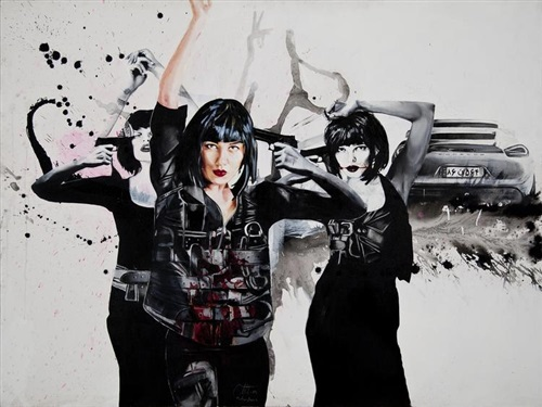Painting by Afshin Pirhashemi of 3 images of women holding guns in front of a porsche car