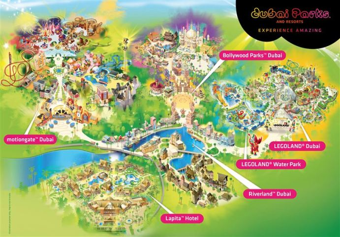 Map of Dubai Parks and Resorts