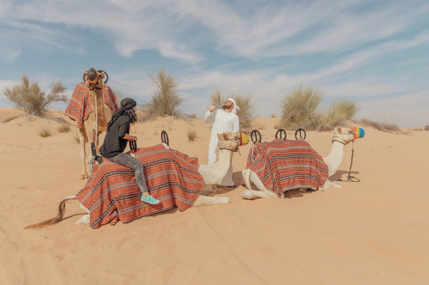 Photograph of man with camels in the dessert.
